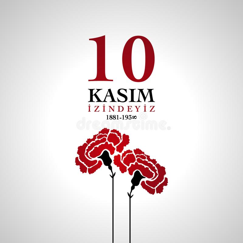 10 November, Death Day anniversary. With carnation flower vector illustration