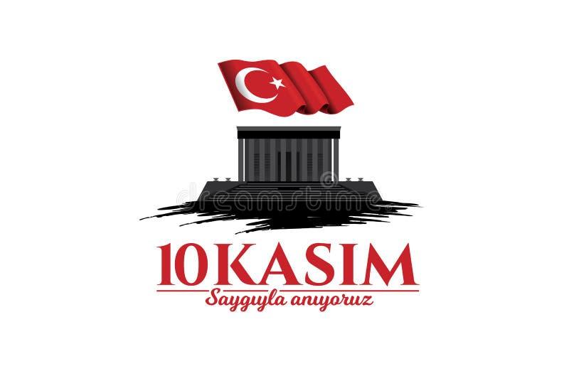 November 10 death day Mustafa Kemal Ataturk royalty free illustration