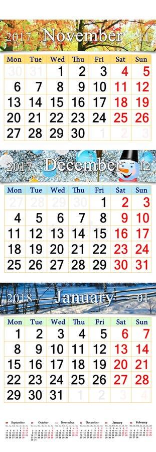 November December 2017 och Januari 2018 med kulöra bilder i form av kalendern royaltyfri foto