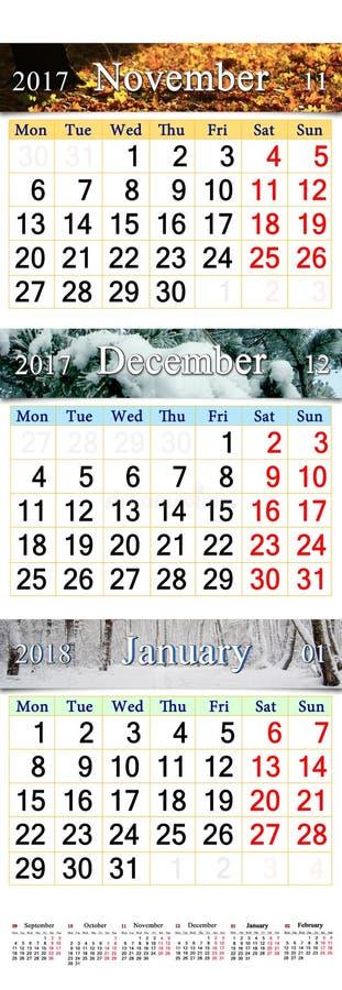 November December 2017 och Januari 2018 med kulöra bilder i form av kalendern arkivfoto