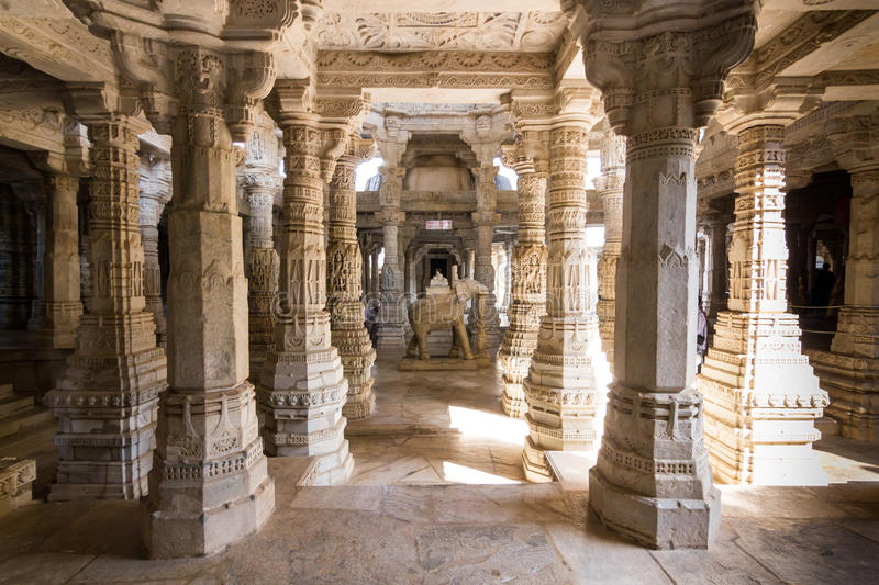 November 08, 2014: Detailed carvings of the walls inside the Jain temple of Ranakpur, India royalty free stock image