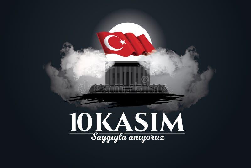10 november dood dag Mustafa Kemal Ataturk royalty-vrije illustratie