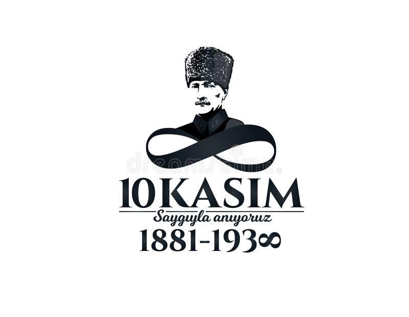 10 november dood dag Mustafa Kemal Ataturk vector illustratie