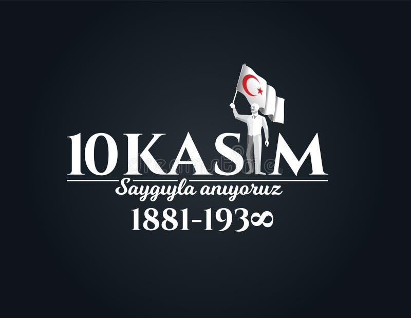 10 november dood dag Mustafa Kemal Ataturk stock illustratie