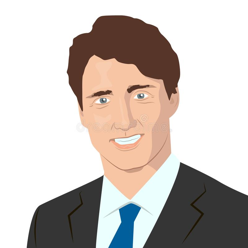 Prime minister of Canada. November 10, 2017 Editorial illustration of the Prime Minister of Canada Justin Trudeau portrait on Canadian flag background