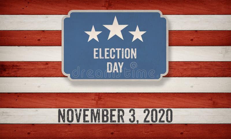 November 2020 election date, US American flag concept background royalty free illustration