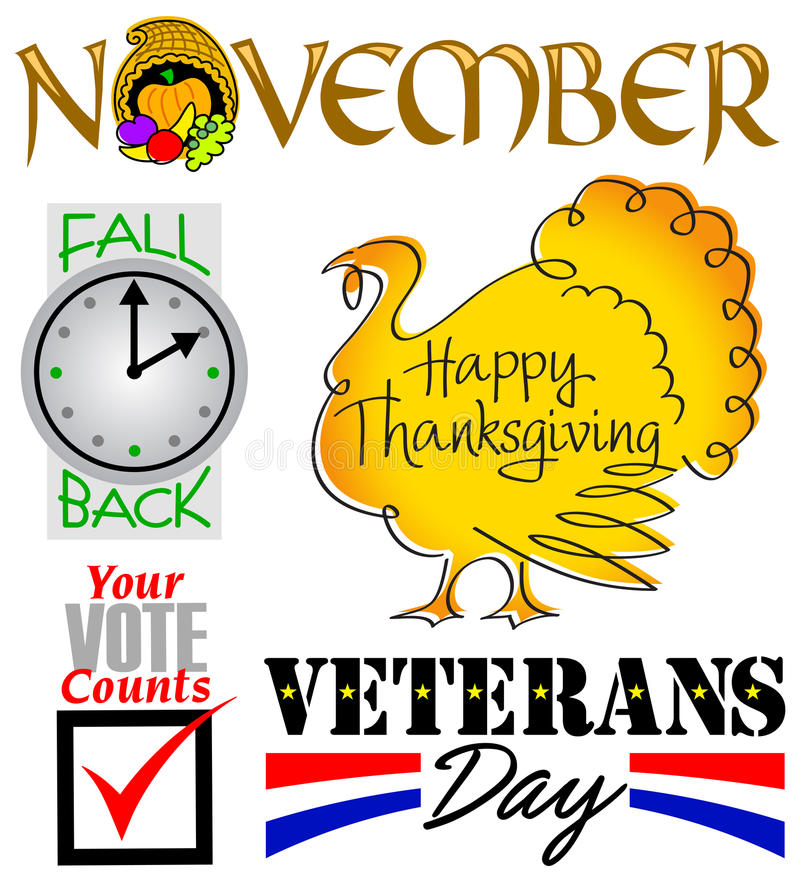 November Events Clip Art Set/eps. Illustrated headlines for November holidays and events including Thanksgiving, Veterans Day, elections and daylight savings