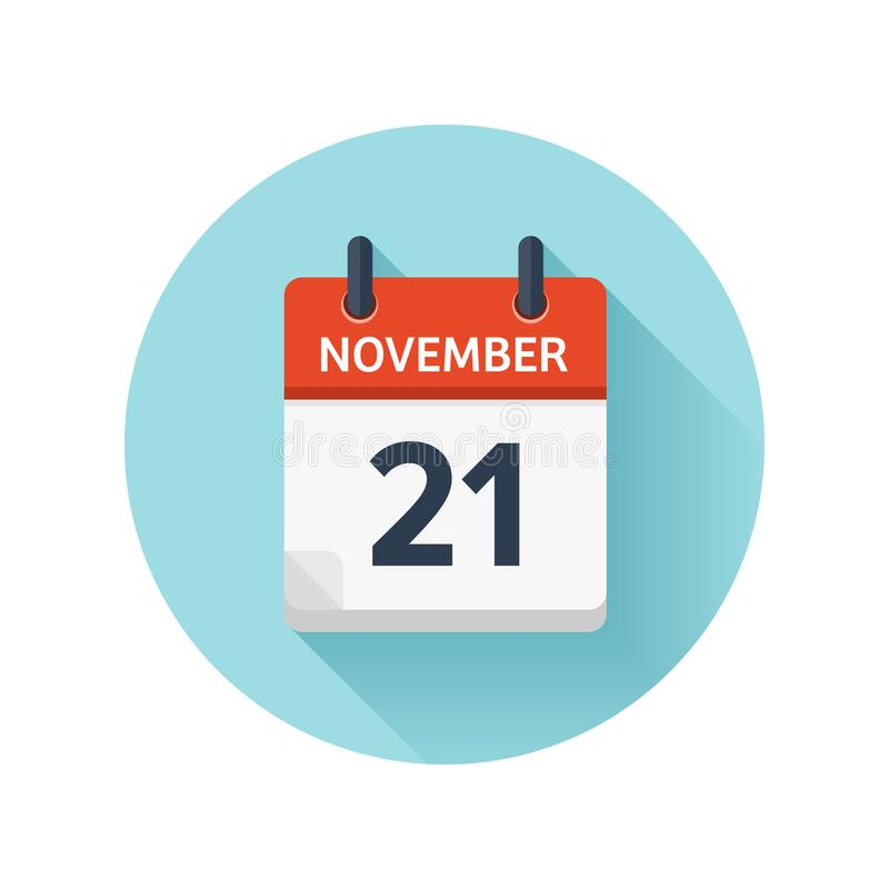 21. November Flache Tagesübersichtikone des Vektors Datum und Zeit, Tag, Monat 2018 feiertag jahreszeit stock abbildung