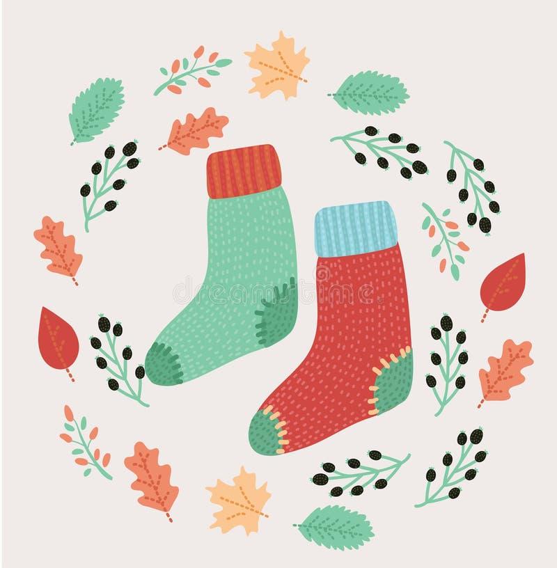 November, heldere dalingsbladeren, sokken, lijsterbes en het van letters voorzien samenstelling stock illustratie
