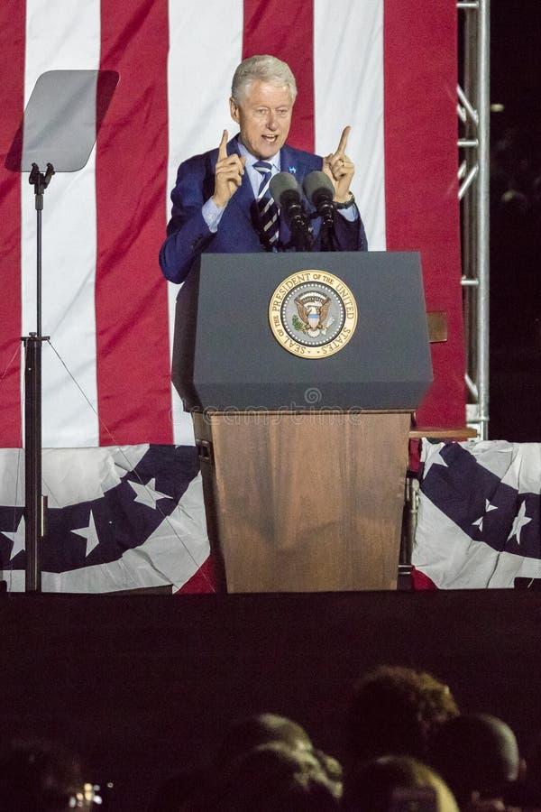 NOVEMBER 7, 2016, INDEPENDENCE HALL, PHIL., PA - PHILADELPHIA, PA - NOVEMBER 07: President Bill Clinton speaks the Night Before ra royalty free stock photo