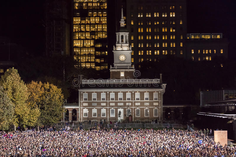 NOVEMBER 7, 2016, INDEPENDENCE HALL, PHIL., PA - Thousands attend Hillary Clinton Election Eve Get Out The Vote Rally With Bruce S stock image