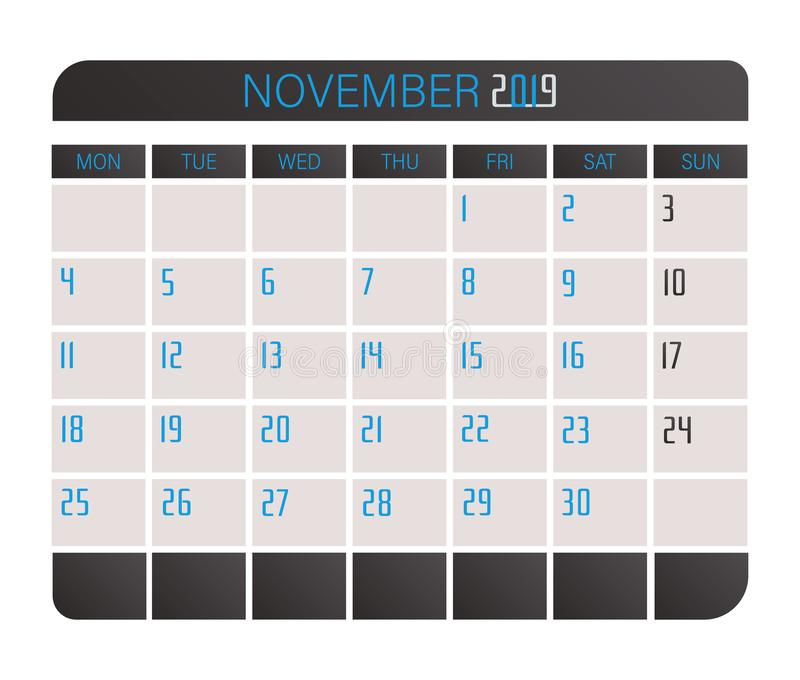 November 2017 kalender stock illustrationer