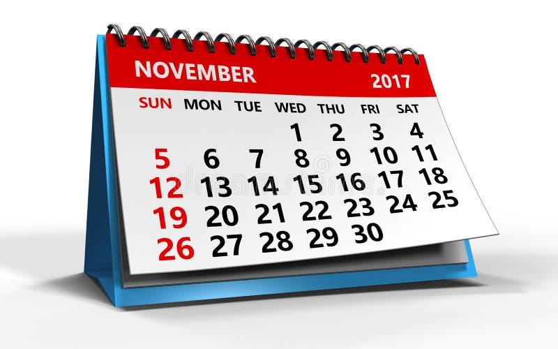 November 2017 Kalender lizenzfreie abbildung