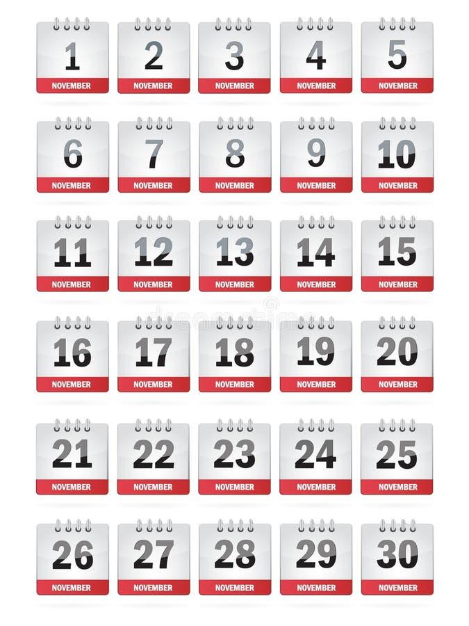 November-Kalender-Ikonen lizenzfreie abbildung