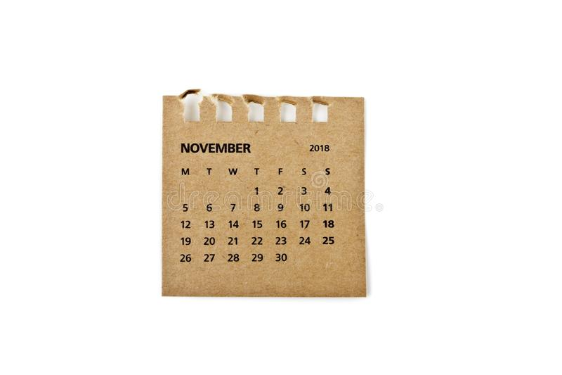november Kalenderblad op wit royalty-vrije stock fotografie