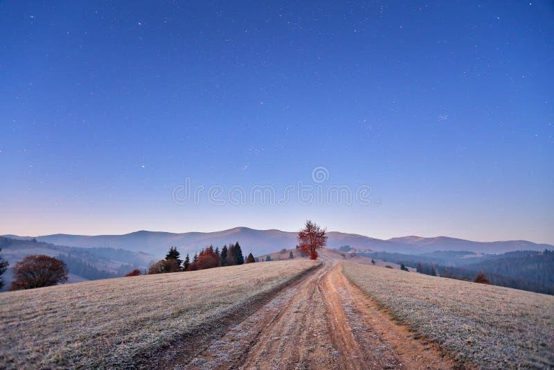November kall frostig gryning i Carpathian berg Morgonstjärnor fotografering för bildbyråer