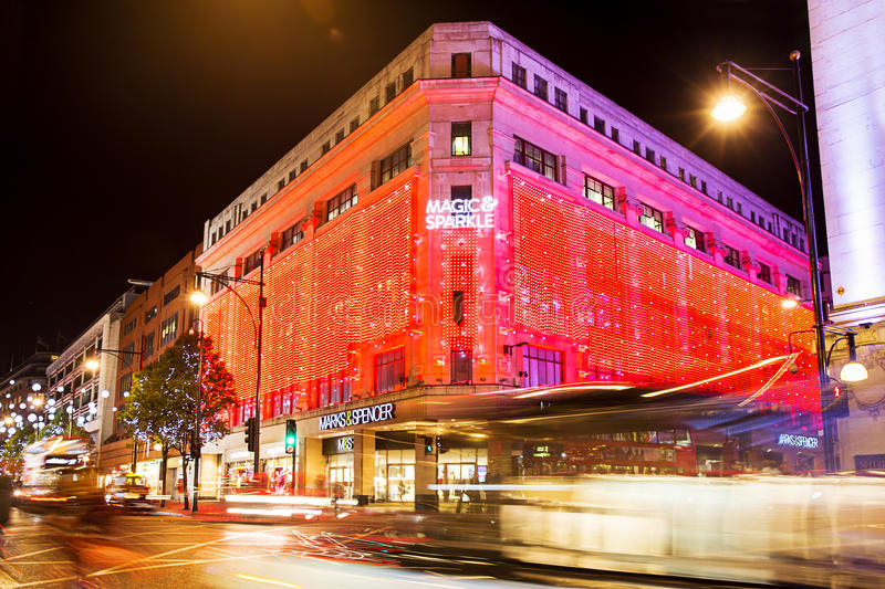 13 November 2014 Marks and Spenser shop on Oxford Street, London, decorated for Christmas and New Year royalty free stock photos