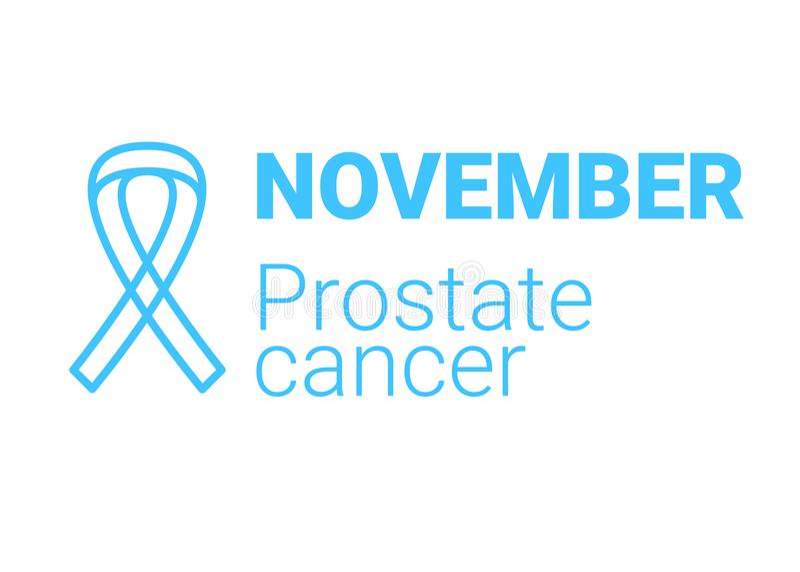 November month of prostate cancer. Blue ribbon. Men health symbol. Vector stock illustration