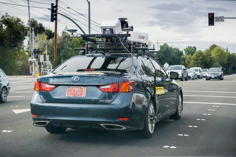 November 20,2017 Mountain View/CA/USA - Mitsubishi Electric Autonomous Driving System Field Testing; Vehicle sporting a roof- stock photo