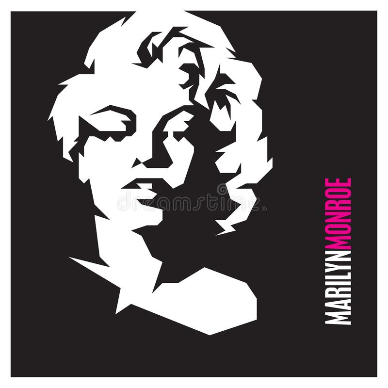Movie star Marilyn Monroe vector isolated portrait royalty free illustration