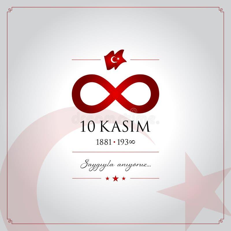 10 November, Mustafa Kemal Ataturk Death Day årsdag stock illustrationer