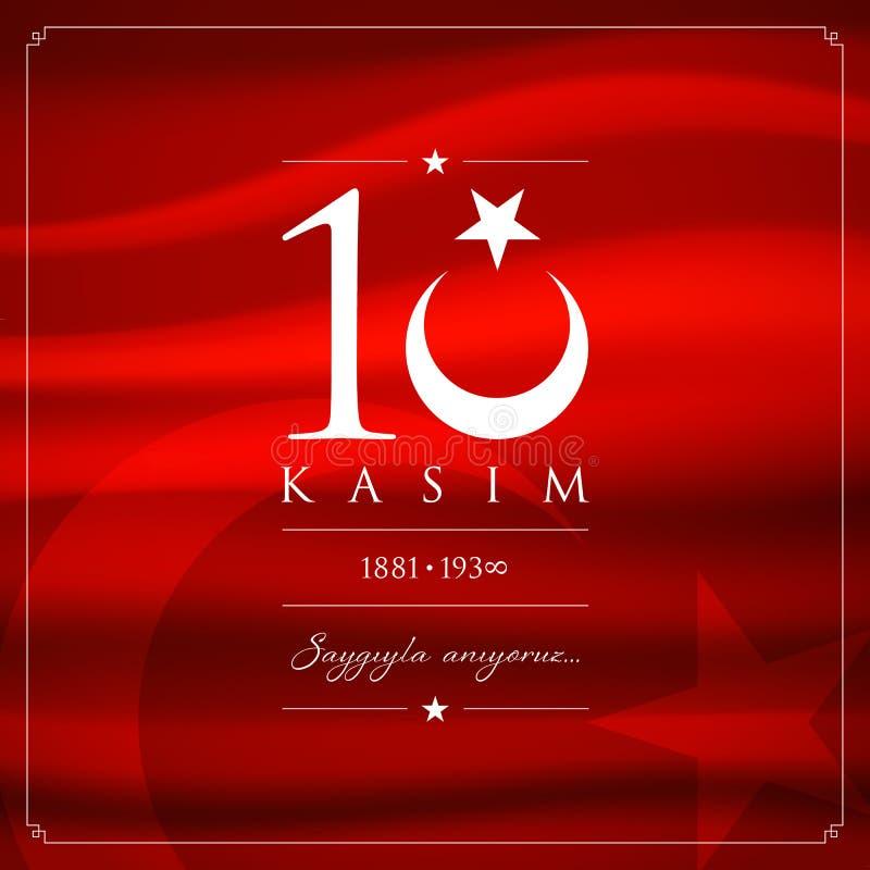 10 November, Mustafa Kemal Ataturk Death Day årsdag royaltyfri illustrationer
