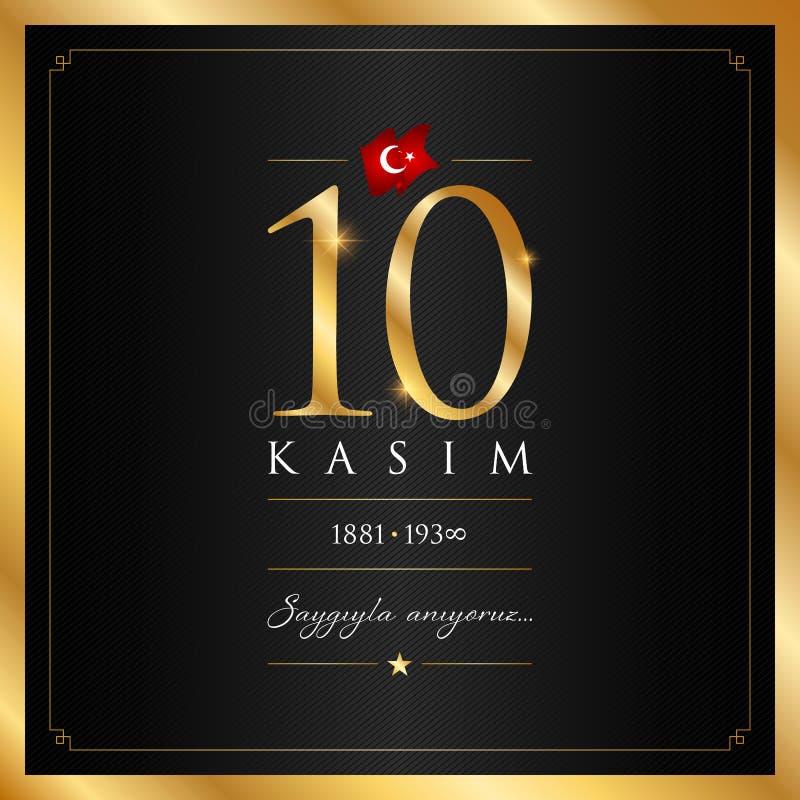 10 November, Mustafa Kemal Ataturk Death Day årsdag vektor illustrationer