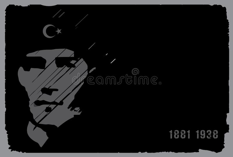 10 November, Mustafa Kemal Ataturk Death Day anniversary. royalty free illustration