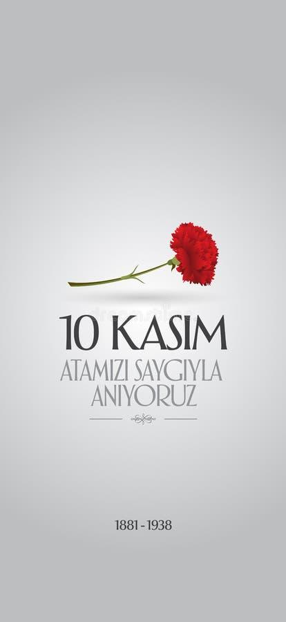 10 November, Mustafa Kemal Ataturk Death Day anniversary. Memorial day of Ataturk. Billboard Design. 10 November, Mustafa Kemal Ataturk Death Day anniversary royalty free illustration
