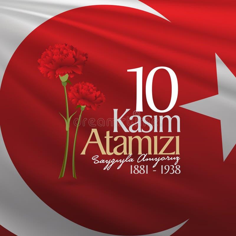 10 November, Mustafa Kemal Ataturk Death Day anniversary. Memorial day of Ataturk. Billboard Design. stock illustration