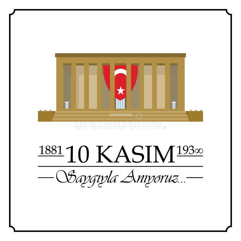 10 November, Mustafa Kemal Ataturk Death Day-verjaardag vector illustratie