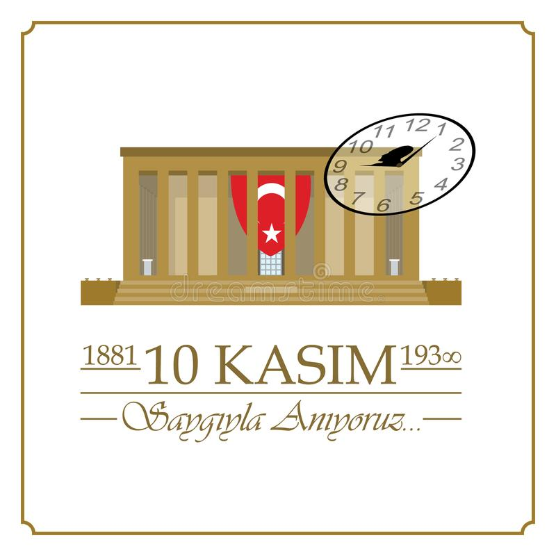 10 November, Mustafa Kemal Ataturk Death Day-verjaardag vector illustratie