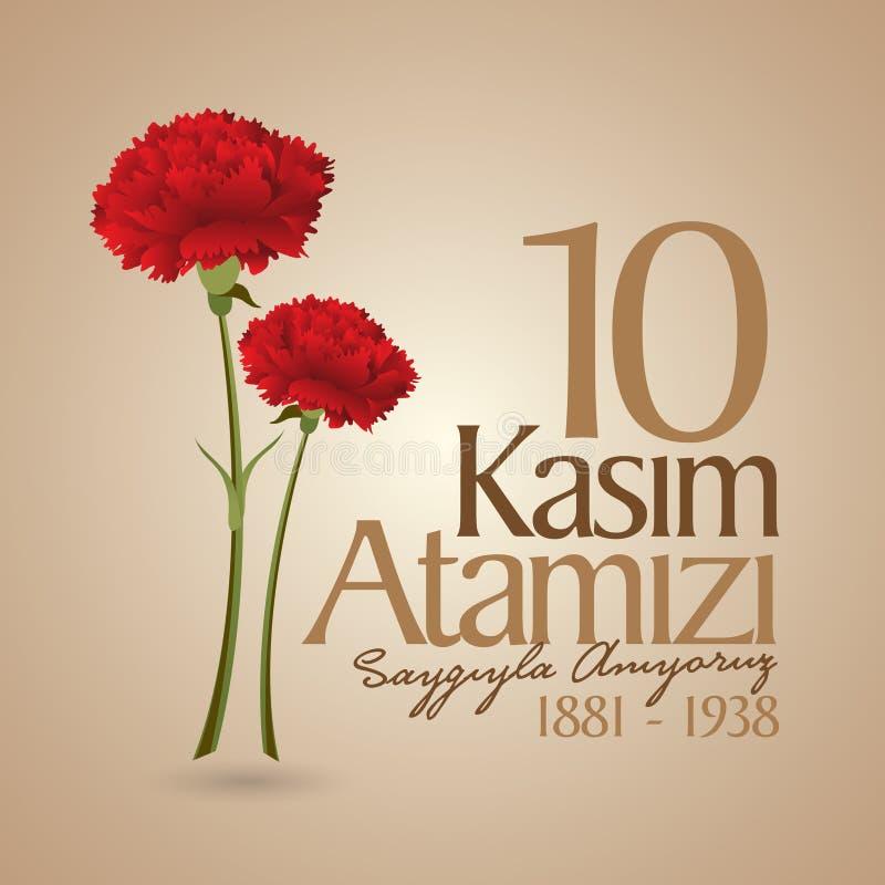 10 November, Mustafa Kemal Ataturk Death Day-verjaardag Herdenkingsdag van Ataturk Aanplakbordontwerp stock illustratie