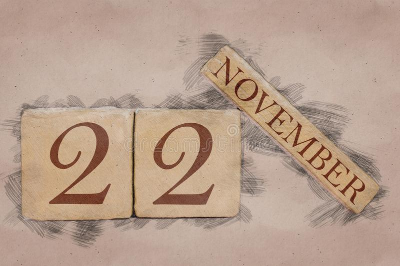 November 22nd. Day 22 of month, calendar in handmade sketch style. pastel tone. autumn month, day of the year concept. Time, light, background, date, number royalty free stock images