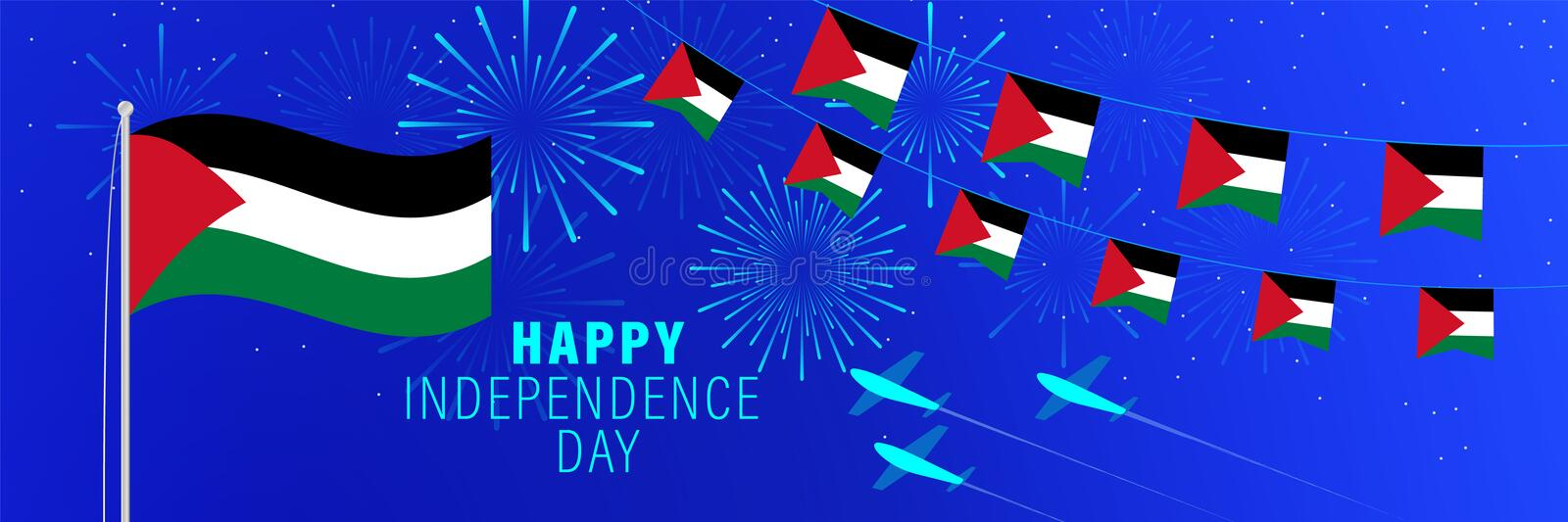 November 15 Palestine Independence Day greeting card.  Celebration background with fireworks, flags, flagpole and text stock illustration