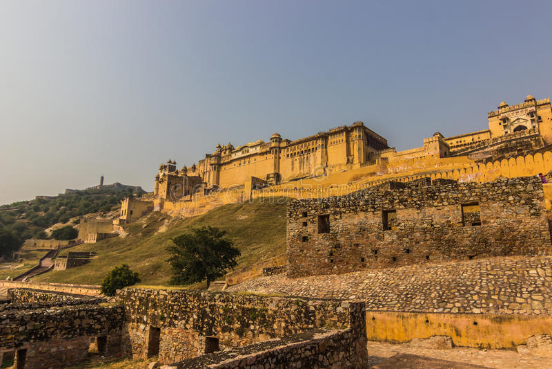 04 november, 2014: Panorama van Amber Fort in Jaipur, India royalty-vrije stock fotografie
