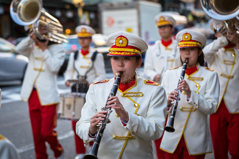 November parade on the street of Gion in Kyoto. KYOTO, JAPAN - NOVEMBER 11, 2016: November parade on the street of Gion in Kyoto. Kyoto was formerly the Imperial stock photo