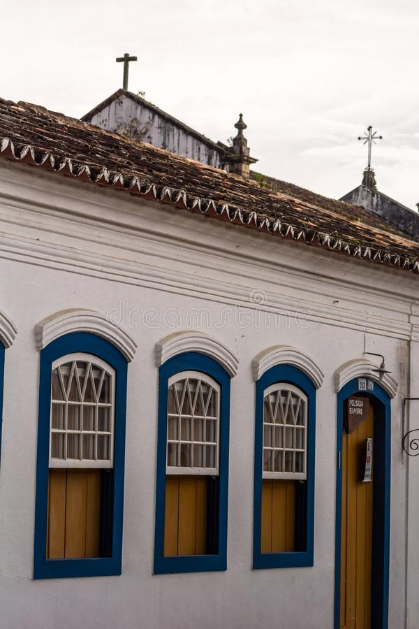 THe windows of some colonial houses at the historical city o Paraty, Brazil. 2018, november - Paraty, Brazil. THe windows of some colonial houses at the stock photo