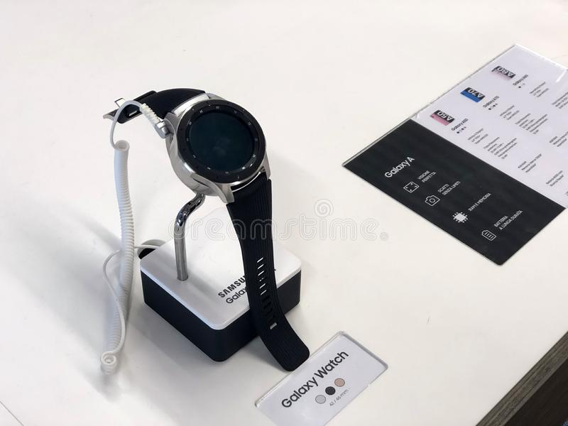 November 2019 Parma, Italy: Black Samsung galaxy watch close-up on display of electronics store. Galaxy watch logo. Technology royalty free stock photo