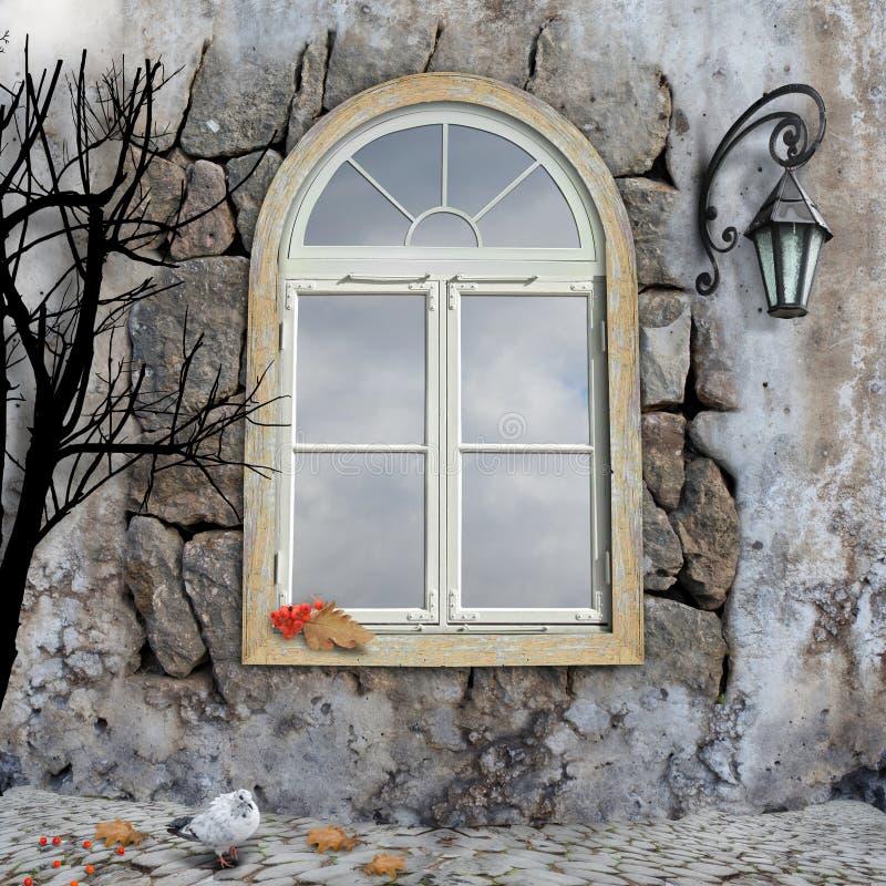 november platsfönster royaltyfri fotografi