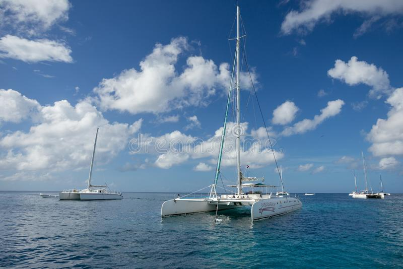 5 November 2015, Punta Cana, Dominican Republic: Catamaran Discovery 3 parked in the Caribbean Sea the coast of Punta Cana. 5 November 2015, Punta Cana royalty free stock photo