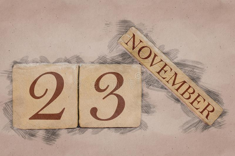 November 23rd. Day 23 of month, calendar in handmade sketch style. pastel tone. autumn month, day of the year concept. Time, light, background, date, number stock photography
