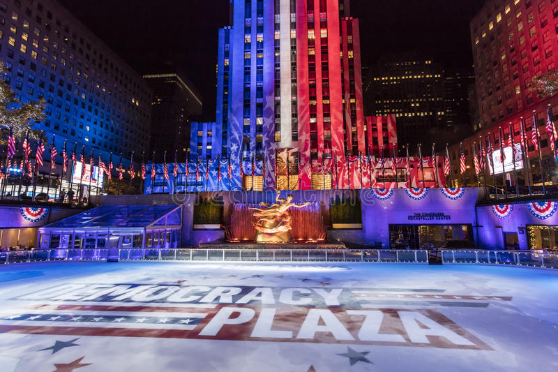 NOVEMBER 8, 2016, ROCKEFELLER CENTER 'DEMOCRACY PLAZA' - ice skating rink for the 2016 Presidential Campaign and News Coverage of. NBC, Rockefeller Center, New royalty free stock photos