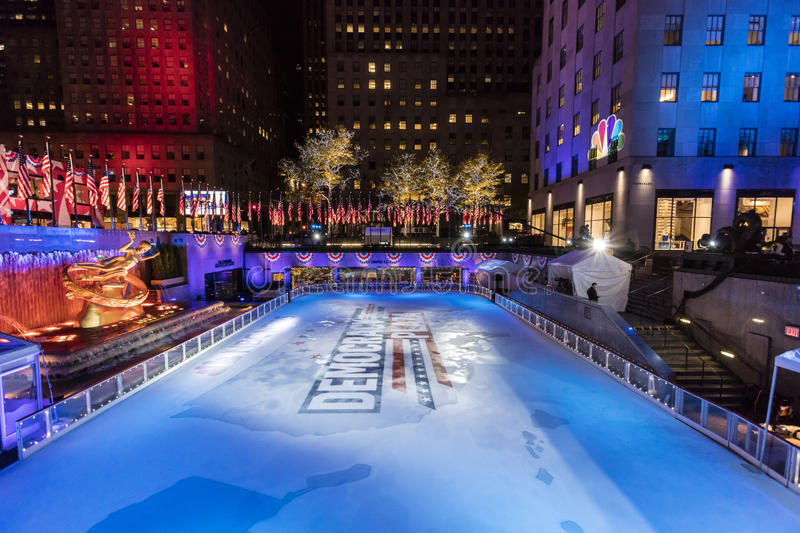 NOVEMBER 8, 2016, ROCKEFELLER CENTER 'DEMOCRACY PLAZA' - ice skating rink for the 2016 Presidential Campaign and News Coverage of. NBC, Rockefeller Center, New royalty free stock photography