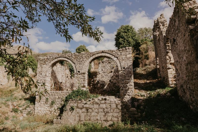 November 31, 2018. ruins of a medieval fortress in the city of Bar of Montenegro - Image stock images