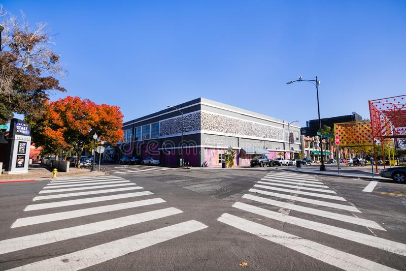 25 november, 2018 San Jose/CA/de V.S. - Stedelijk landschap in BANK royalty-vrije stock afbeeldingen