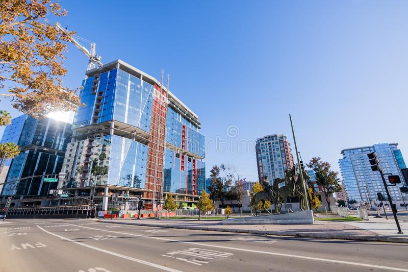 November 25, 2018 San Jose / CA / USA - New office building cons. Truction in downtown San Jose, Silicon Valley royalty free stock photography