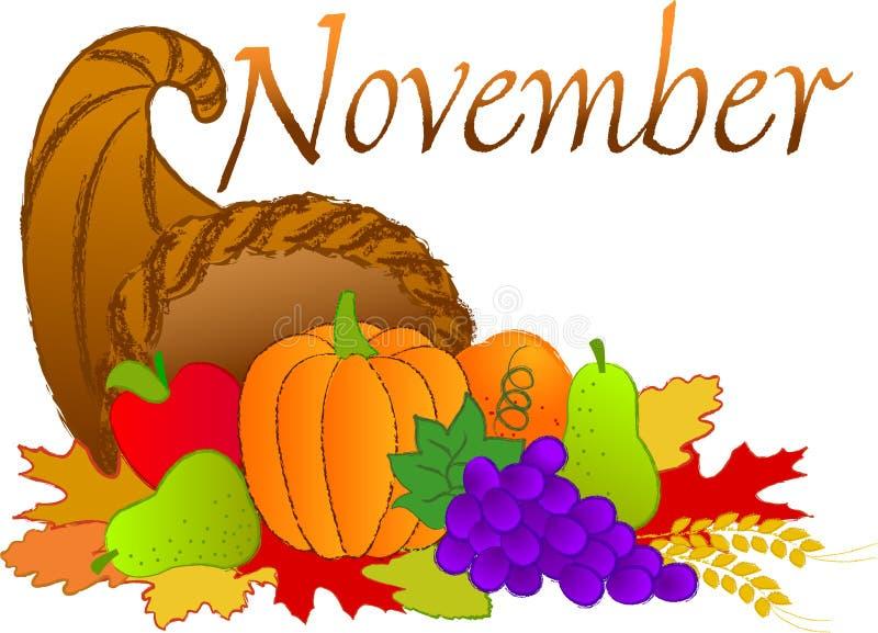 November scene. November headline with a harvest cornucopia
