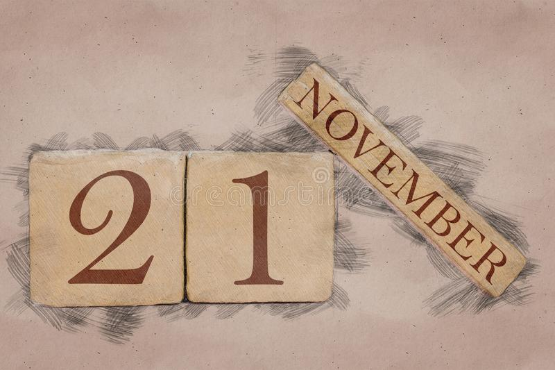 November 21st. Day 20 of month, calendar in handmade sketch style. pastel tone. autumn month, day of the year concept. Time, light, background, date, number royalty free stock photos