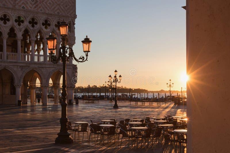 November sunrise in Venice. San Marco plaza near Doge`s palace at sunrise stock photography